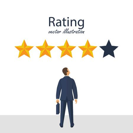 Five rating stars vector illustration. Feedback concept. Businessman looks gold star, to give five. Vector illustration in flat style. 向量圖像