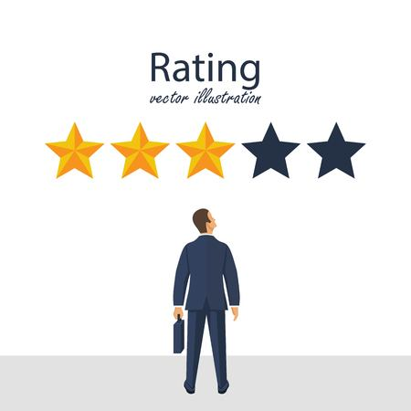 Five rating stars vector illustration. Feedback concept. Businessman looks gold star, to give five. Vector illustration in flat style. Illustration