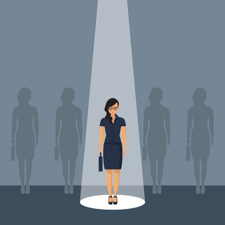 Chosing person for hiring. Vacant concept. Human and recruitment, select people, resource and recruit. Vector illustration in flat design.