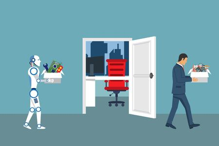 Artifical intelligence robot replaces the work of man. People replaced by technology. Robotics industry. Vector illustration in flat design Ilustração