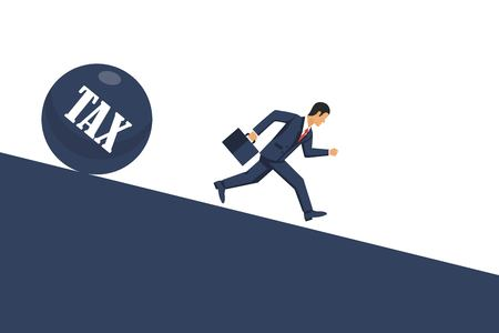 Tax concept. Businessman runs away from tax. Economic depresion, financial crisis, crash financial. Vector illustration in flat style. Illustration
