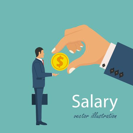 Salary time. The boss pays the worker. Human hand reaching out for money. Vector illustration in flat design.