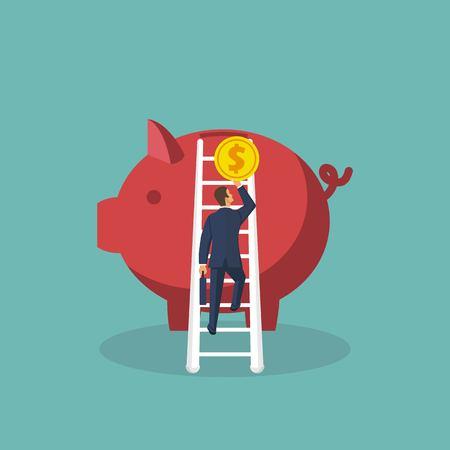 Save money concept. Vector illustration in flat design. Standard-Bild - 122163808