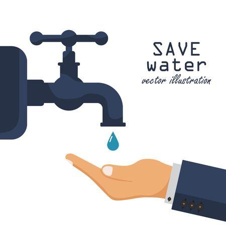 Liquide dans la paume. Ouvrez et fermez le robinet. Illustration vectorielle au design plat.