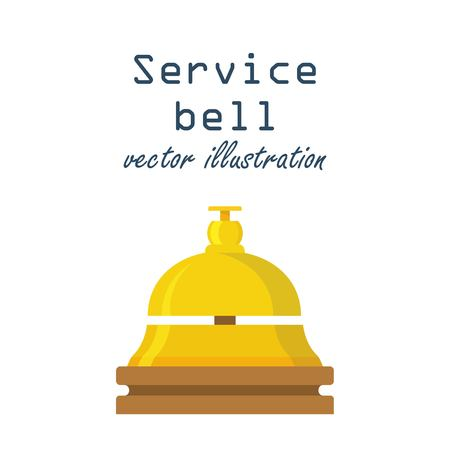 Service bell concept. Customer at reception presses the call button. Bell hotel. Vector illustration in flat design.