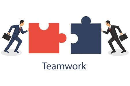Concetto di affari. Due uomini d'affari che collegano gli elementi del puzzle. Unendo due pezzi. Lavorare insieme, partnership, cooperazione. Illustrazione vettoriale in design piatto. Vettoriali