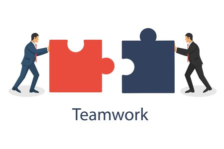 Business concept. Two businessmen conencting puzzle elements. Combining two pieces. Working togather, partenership, cooperation. Vector illustration in flat design.