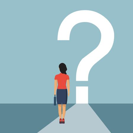 What is next concept. Businesswoman stands in fornt of question mark. Big question mark on a way. Vector illustration in flat design. Ilustrace
