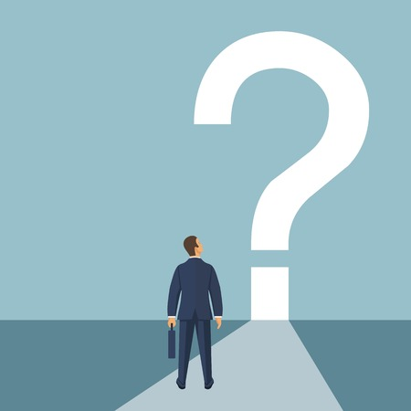 What is next concept. Businessman stands in fornt of question mark. Big question mark on a way. Vector illustration in flat design. Banco de Imagens - 122164173