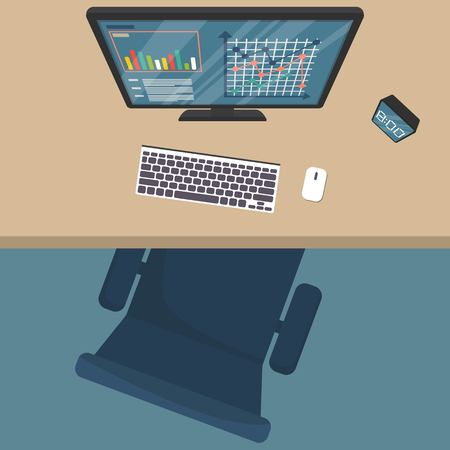 Top view of modern office workplace, chair, office supplies, documents, monitor, keyboard, pen, paper, coffee , glasses, phone, haedphones, notebook , folder,planner, clock. Flat vector illustration.