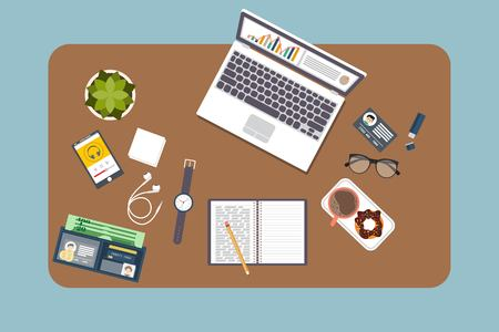 Top view of modern office workplace, office supplies, documents, laptop, pen, paper, coffee , glasses, phone, haedphones, notebook , folder,planner, clock. Flat vector illustration.