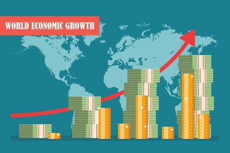 World economic growth concept. Vector illustration in flat design. Ilustrace