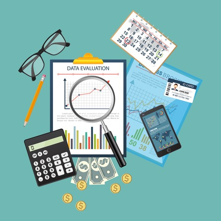 Auditing concept. Realistic design of accounting, research, calculating, management, financial analysis. Top view. Business background with desktop elements. Vektoros illusztráció