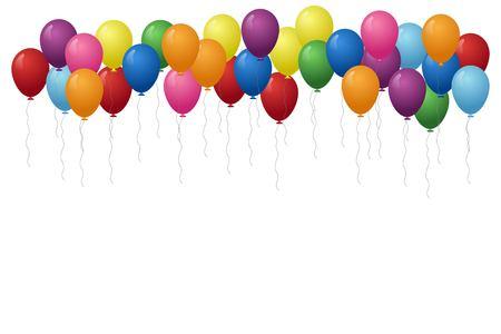 Ilustración de vector de fondo de globos. Concepto de cumpleaños. Ilustración de vector