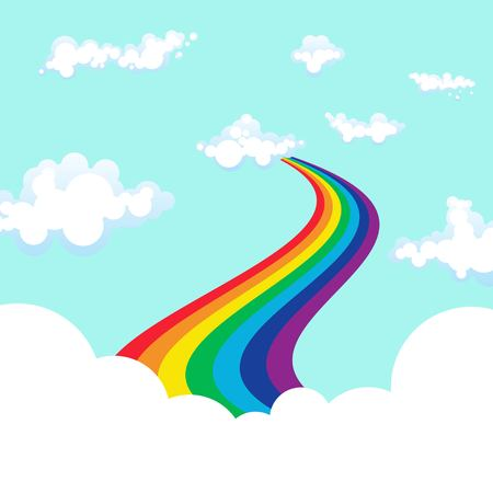 Rainbow background vector illustration in flat design.
