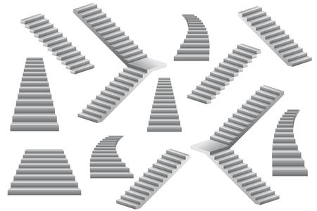Set of stairs vector illustration isolated on white background.