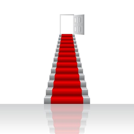 Stairs to door vector illustration. Growth concept. Goal to be won.