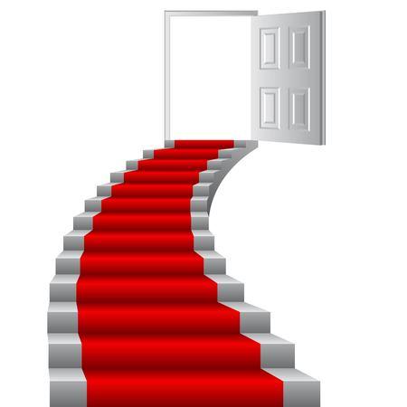 Escaliers à l'illustration vectorielle de porte. Notion de croissance. But à gagner.