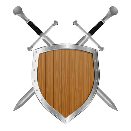 Medieval sword and shield vector illustration isolated on white background