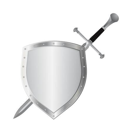 Medieval sword and shield vector illustration isolated on white background Ilustração