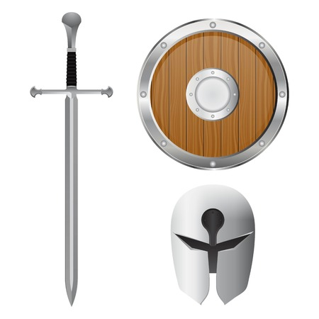 Sword, helmet and shield set. Vector illustration isolated on white background