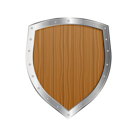 Medieval wooden shield vector illustration isolated on white background