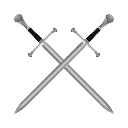 Medieval crossed swords isolated on white background. Stock Illustratie