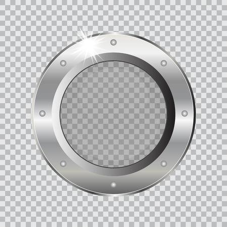 Metal ship porthole vector illustration isolated on transparent background