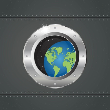 Spaceship porthole vector illustration. Round window of the spaceship. Ilustração