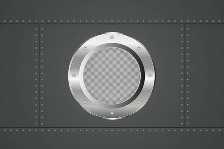 Submarine porthole vector illustration. Round window of the submarine.
