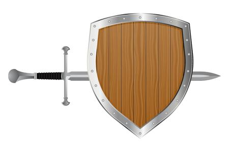 Medieval sword and shield vector illustration isolated on white background Ilustrace