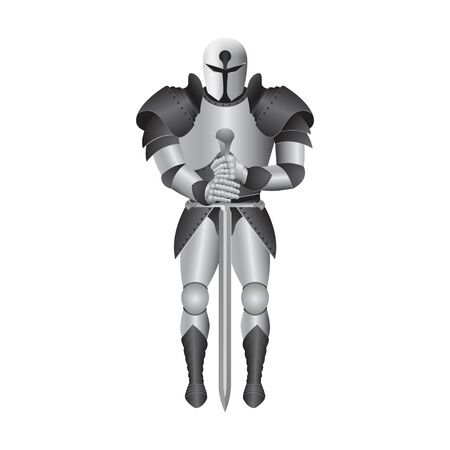 Metal knight armour vector illustration isolated on white background