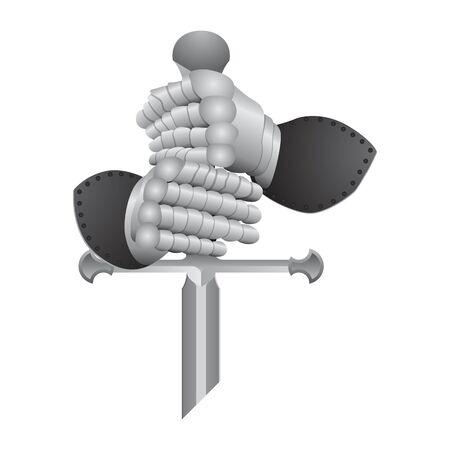 Knight gloves and sword vector illustration