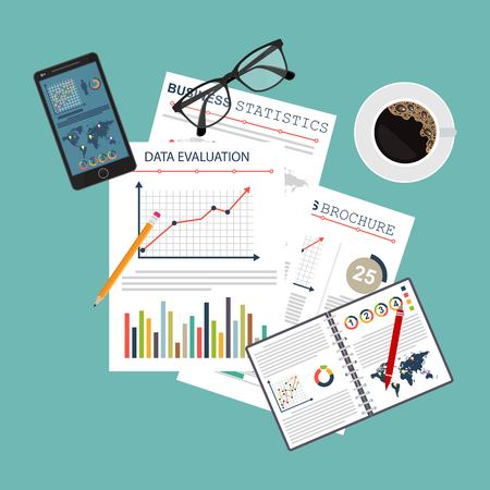 Auditing concept. Realistic design of accounting, research, calculating, management, financial analysis. Top view. Business background with desktop elements.