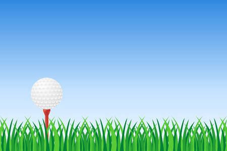 Golf ball on red tee on green grass vector illustration