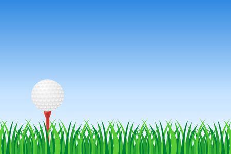 Pelota de golf en camiseta roja en la ilustración de vector de hierba verde