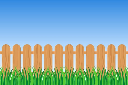 Background of green grass and fence vector illustration