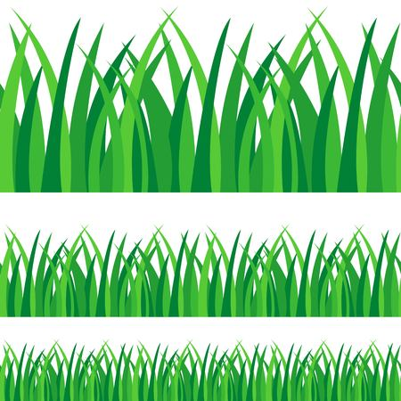 Set of green grass vector illustration isolated on white background