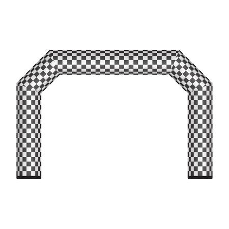 Inflatable finish line vector illustration isolated on white background