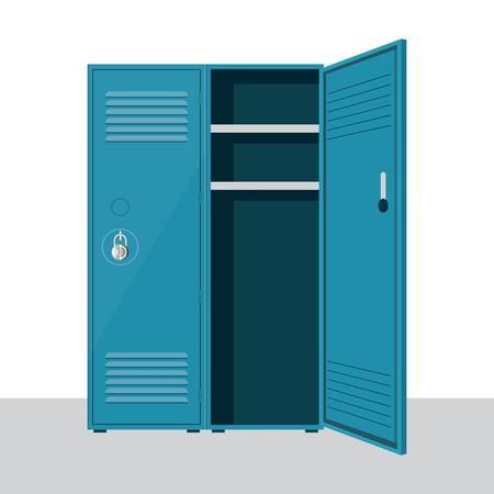 Metal school locker vector illustration isolated on white background Ilustração