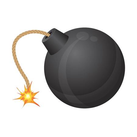 Bomb with burning fuse vector illustration isolated on white background