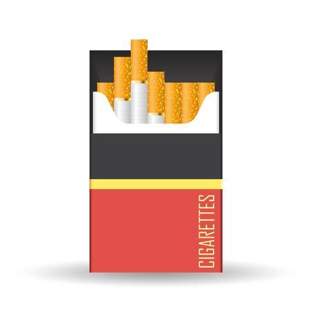 Cigarettes pack vector illustration isolated on white background Çizim