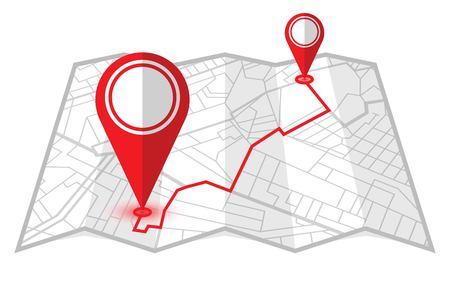 Rote Pins, die den Abstand zwischen zwei Standorten anzeigen