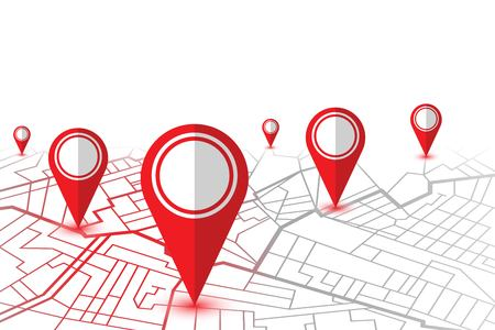 Red pin showing location on gps navigator map. Vector illustration Illustration