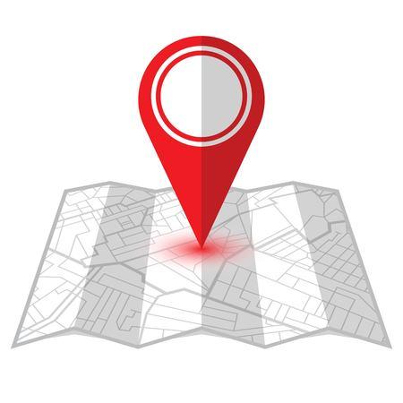 Pin rojo que muestra la ubicación en el mapa del navegador gps. Ilustración vectorial Ilustración de vector