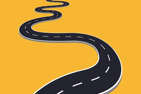 Winding road vector illustration isolated. Transportation concept design