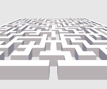 3D Labyrinth or maze vector illustration. 向量圖像