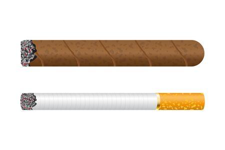 Burning cigar vector illustration isolated on white background 向量圖像