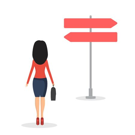 Businesswoman has to make a choice vector illustration in flat design.