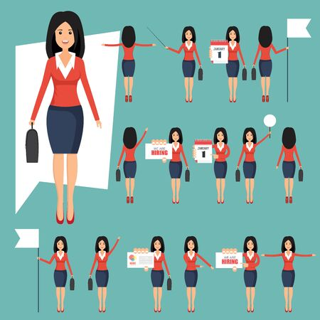 Set of businesswomans in different positions vector illustration in flat design